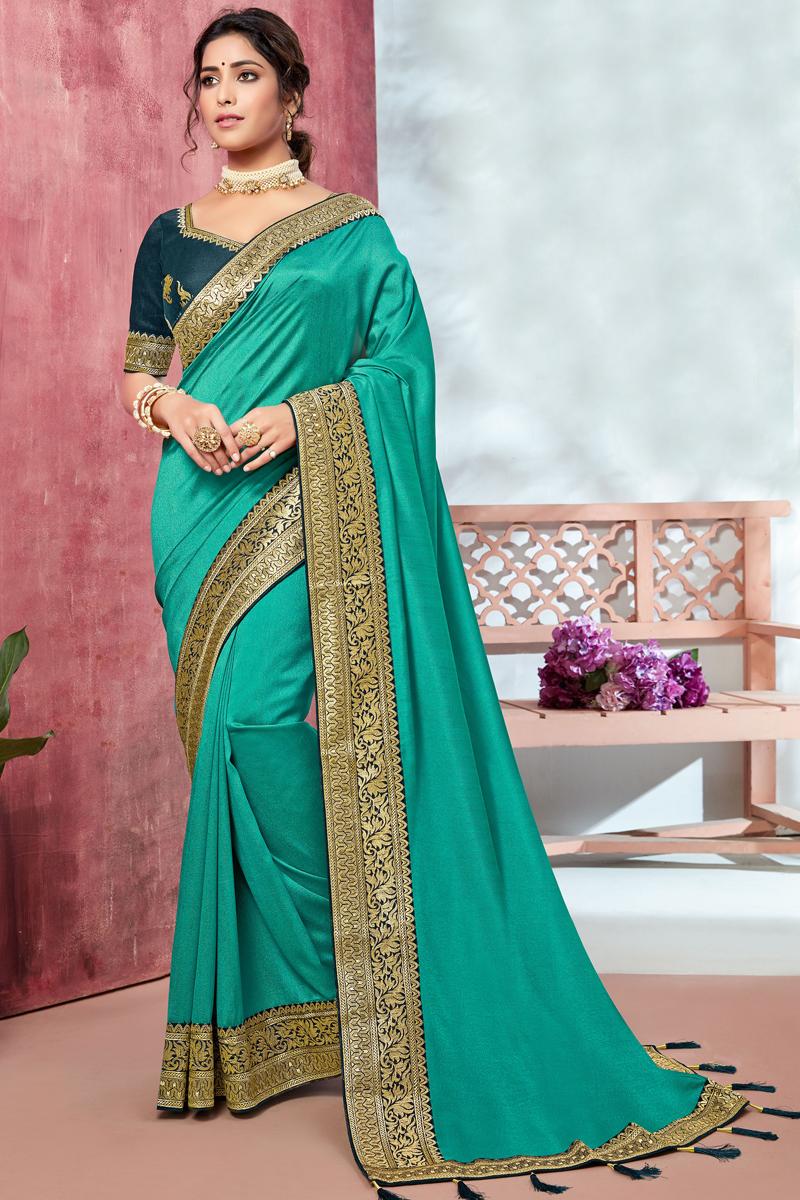 Cyan Color Art Silk Fabric Occasion Wear Border Work Saree