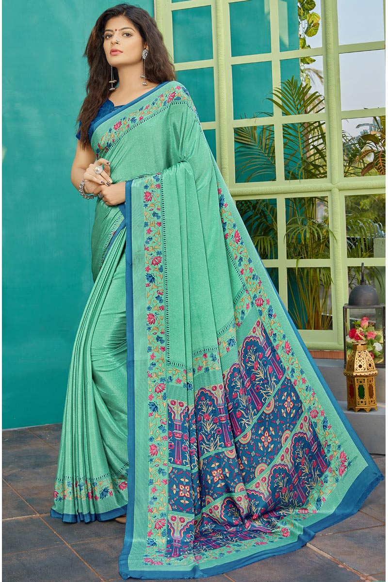 Sea Green Color Puja Wear Printed Saree In Crepe Fabric