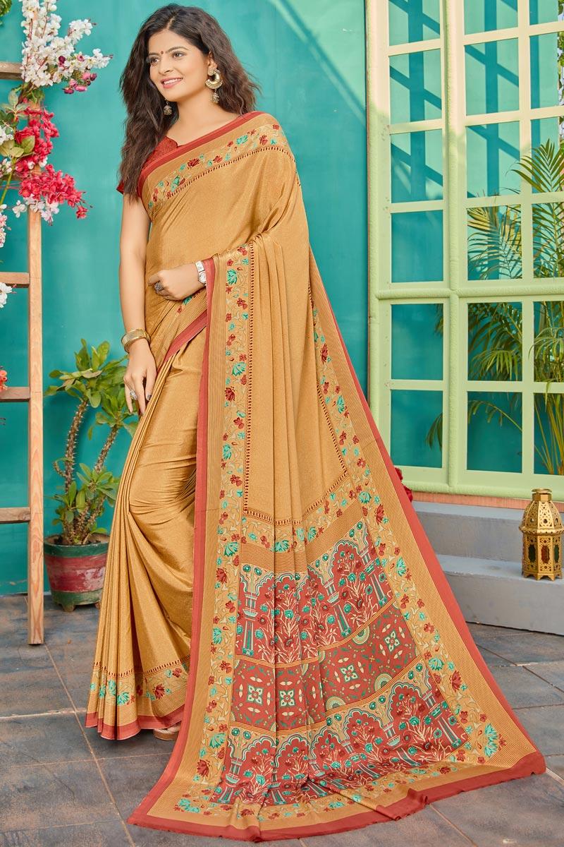 Orange Color Crepe Fabric Fancy Printed Daily Wear Saree