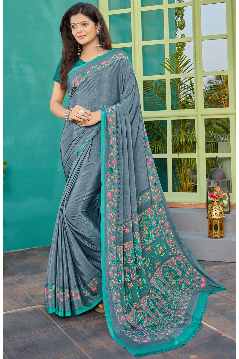 Crepe Fabric Daily Wear Printed Saree In Grey Color