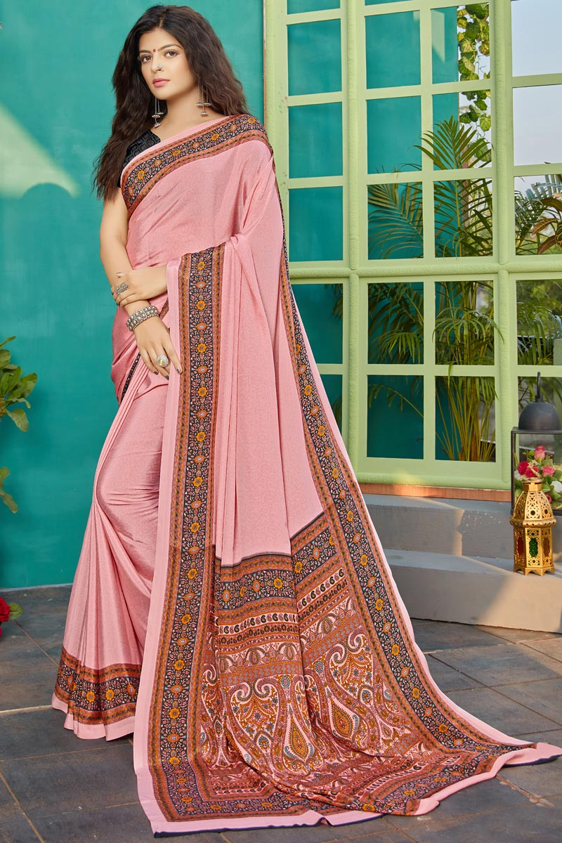 Crepe Fabric Pink Color Daily Wear Printed Saree
