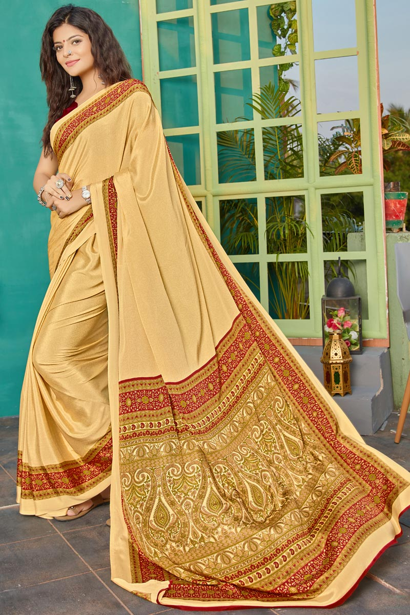 Simple Printed Crepe Fabric Casual Saree In Beige Color