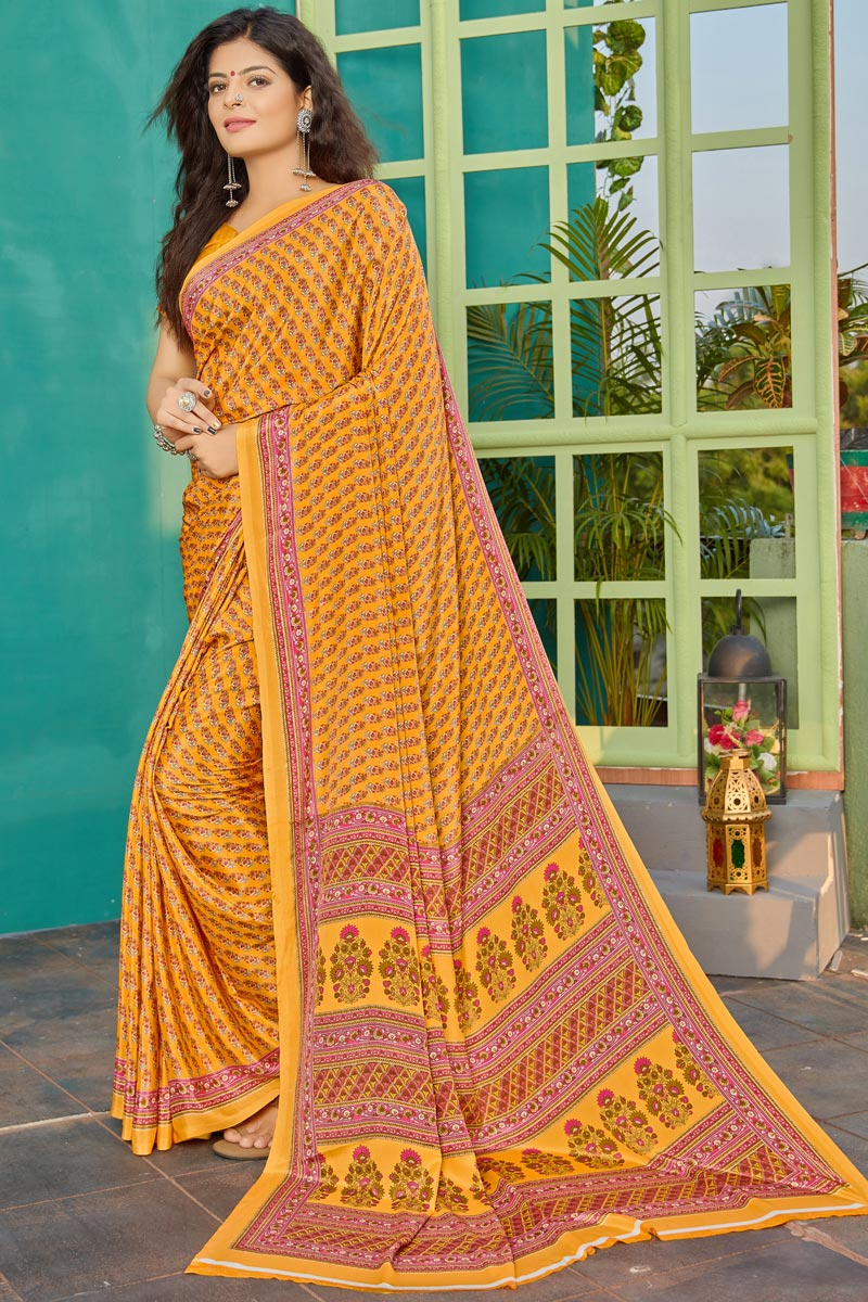 Orange Color Daily Wear Simple Printed Saree In Crepe Fabric