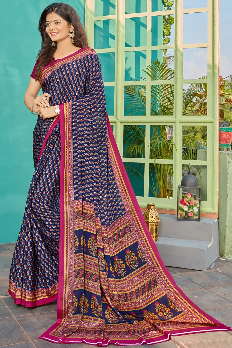 Fancy Crepe Fabric Navy Blue Color Daily Wear Printed Saree