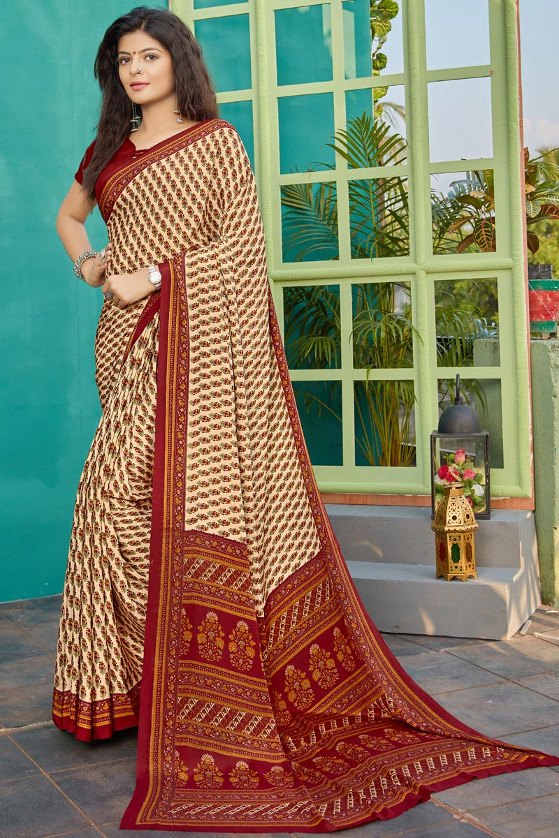 Casual Wear Fancy Printed Saree In Crepe Fabric Beige Color
