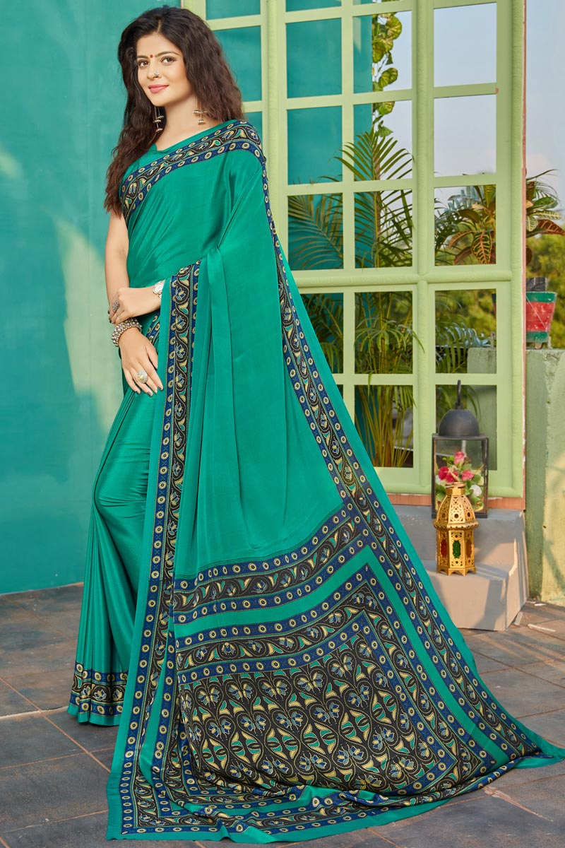 Cyan Color Fancy Crepe Fabric Printed Daily Wear Saree