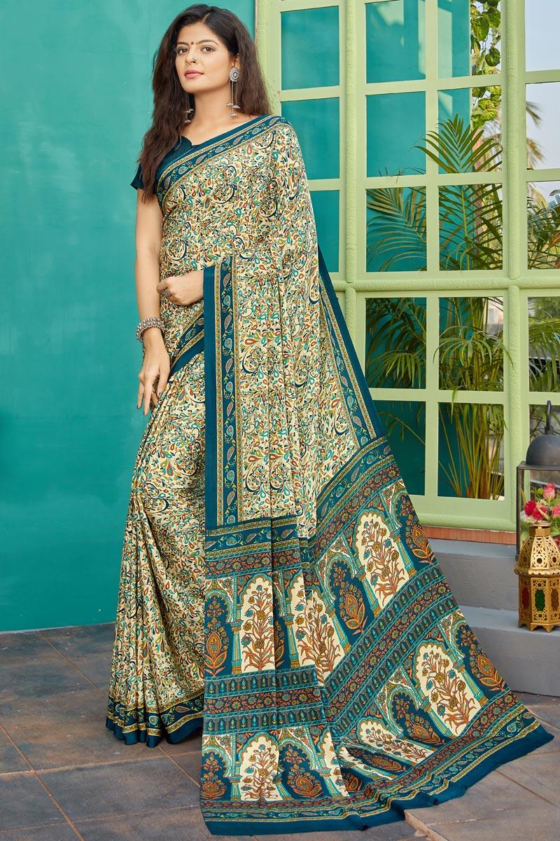 Crepe Fabric Beige Color Regular Wear Printed Saree