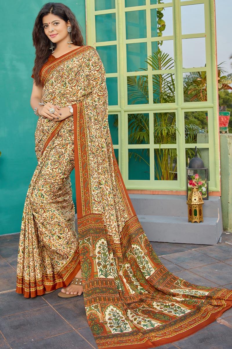 Regular Wear Crepe Fabric Printed Saree In Beige Color