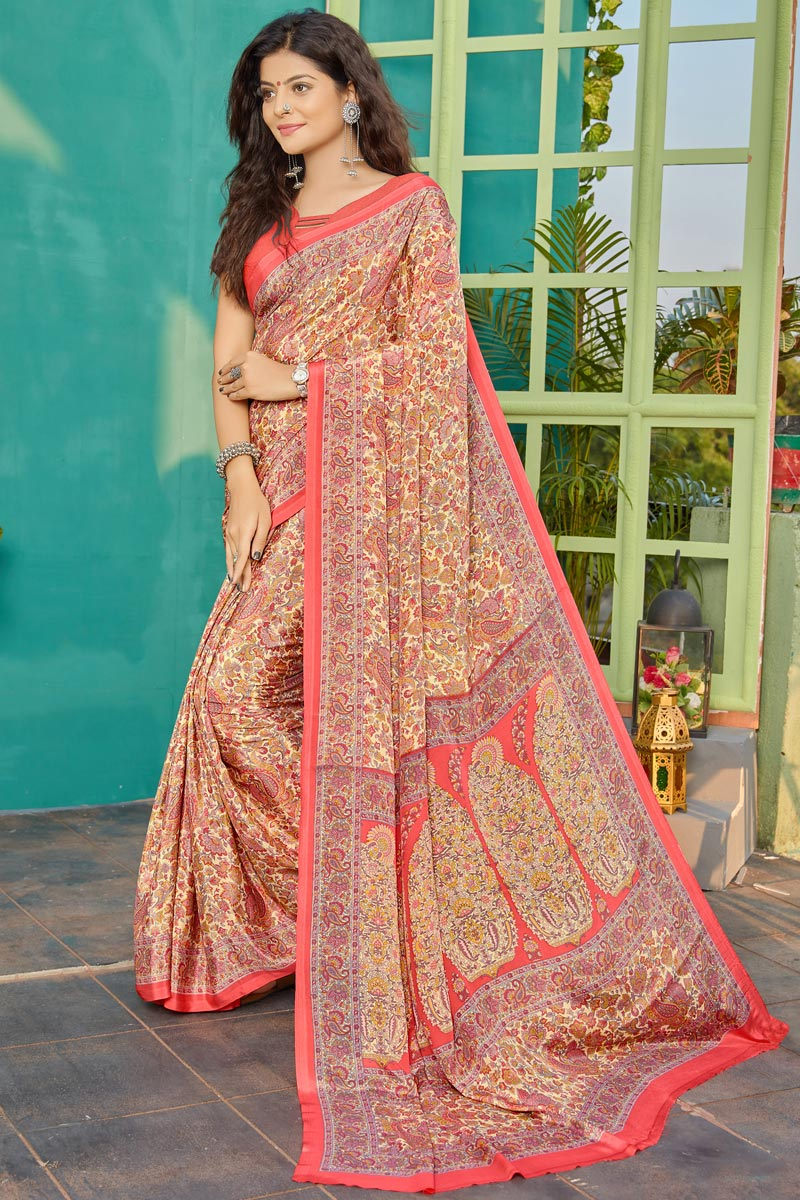 Crepe Fabric Simple Printed Office Wear Saree In Peach Color