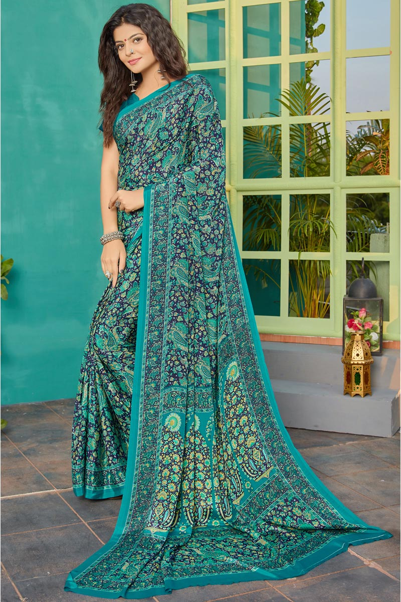 Trendy Printed Daily Wear Saree In Cyan Color Crepe Fabric