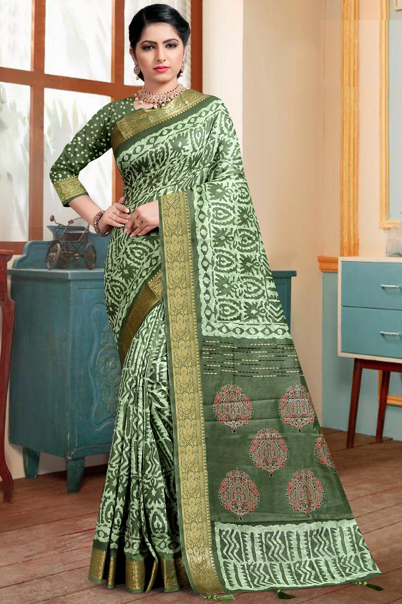Trendy Cotton Silk Festive Wear Sea Green Printed Saree