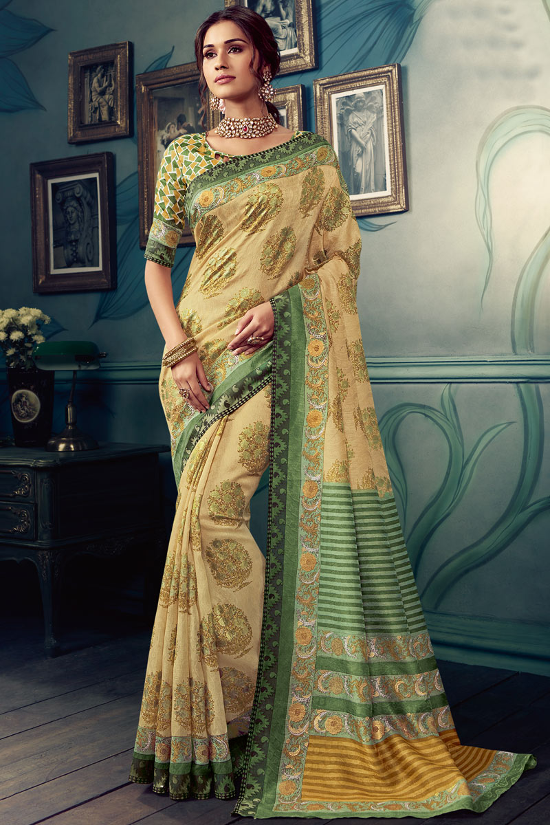 Printed Beige Color Art Silk Fabric Office Wear Saree With Blouse