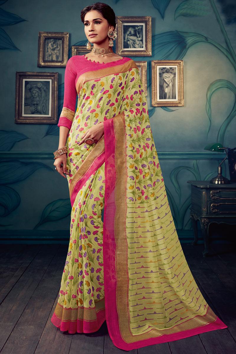 Printed Office Wear Saree In Art Silk Fabric Khaki Color