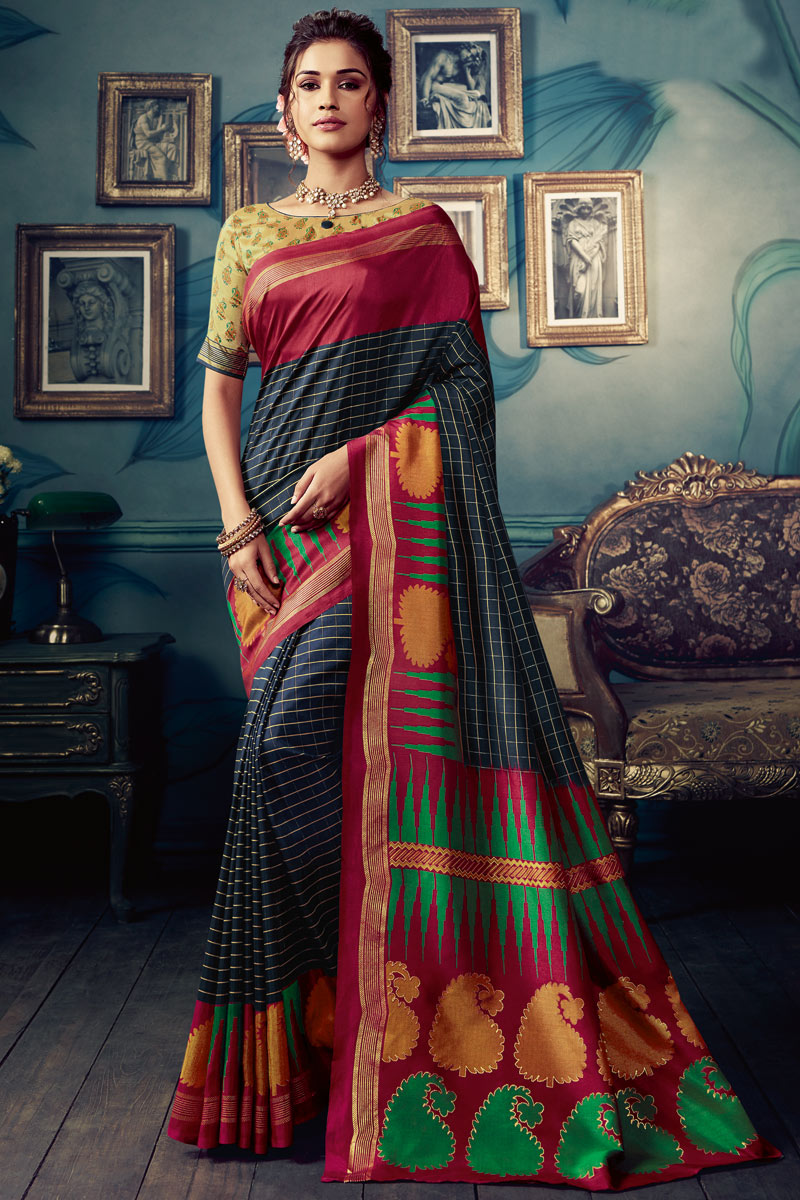 Black Color Daily Wear Printed Saree In Art Silk Fabric