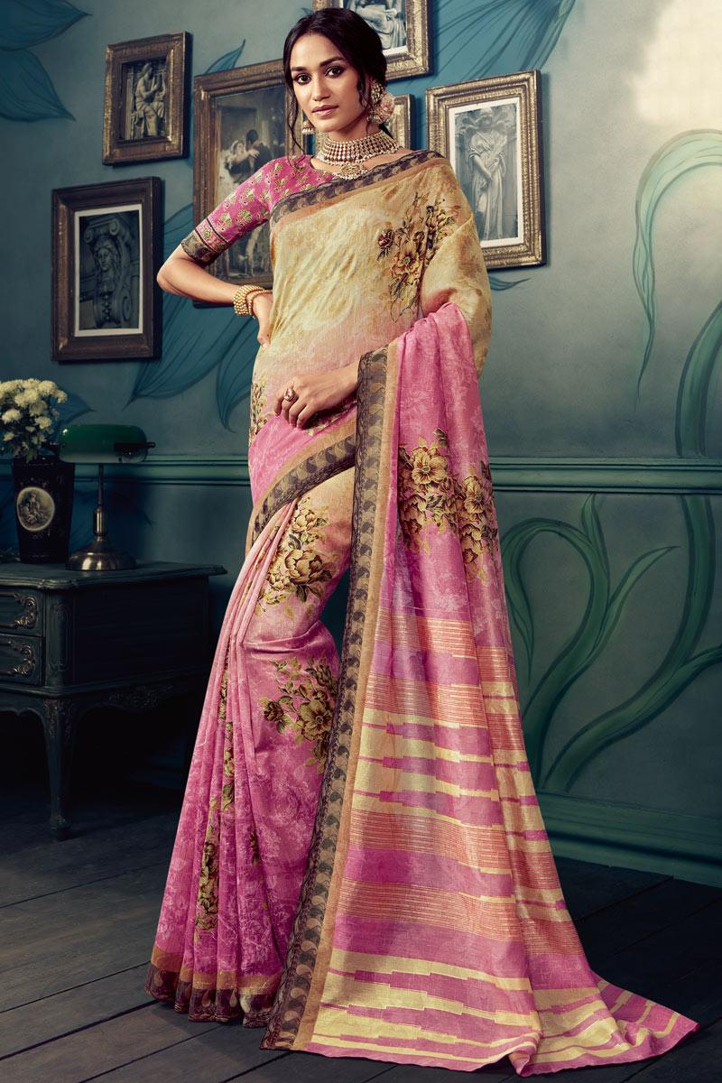 Art Silk Fabric Pink Color Casual Wear Printed Saree