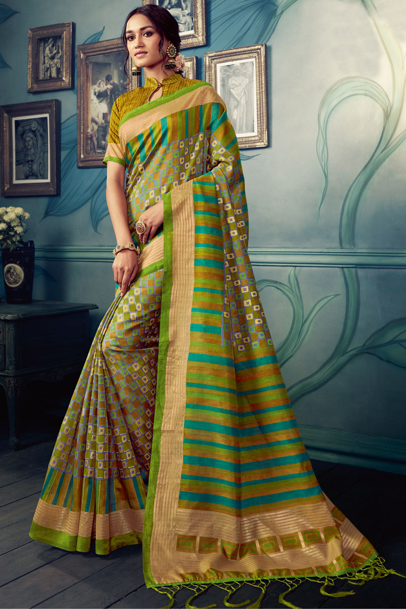 Green Color Art Silk Fabric Daily Wear Printed Saree