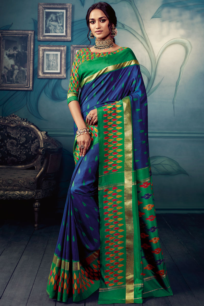 Art Silk Fabric Simple Printed Saree In Blue Color