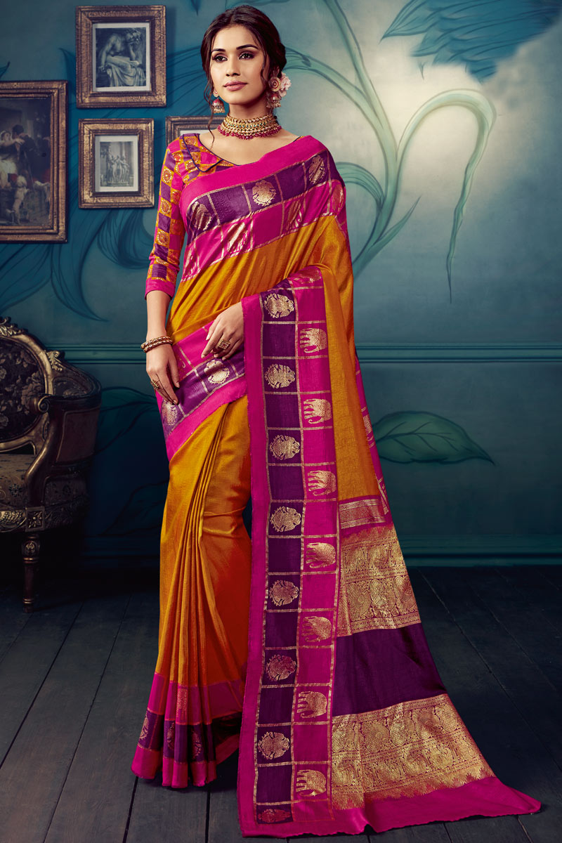 Printed Office Wear Saree In Art Silk Fabric Orange Color