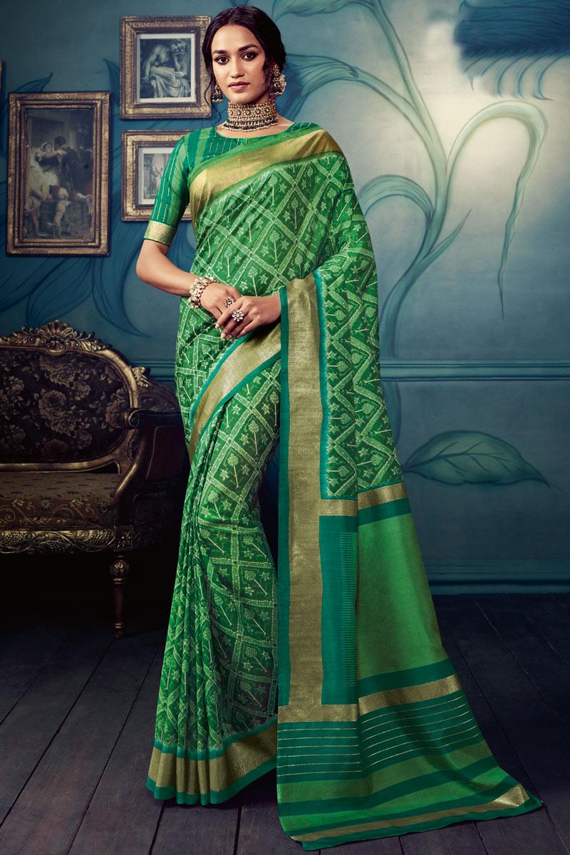Dark Green Color Daily Wear Printed Saree In Art Silk Fabric