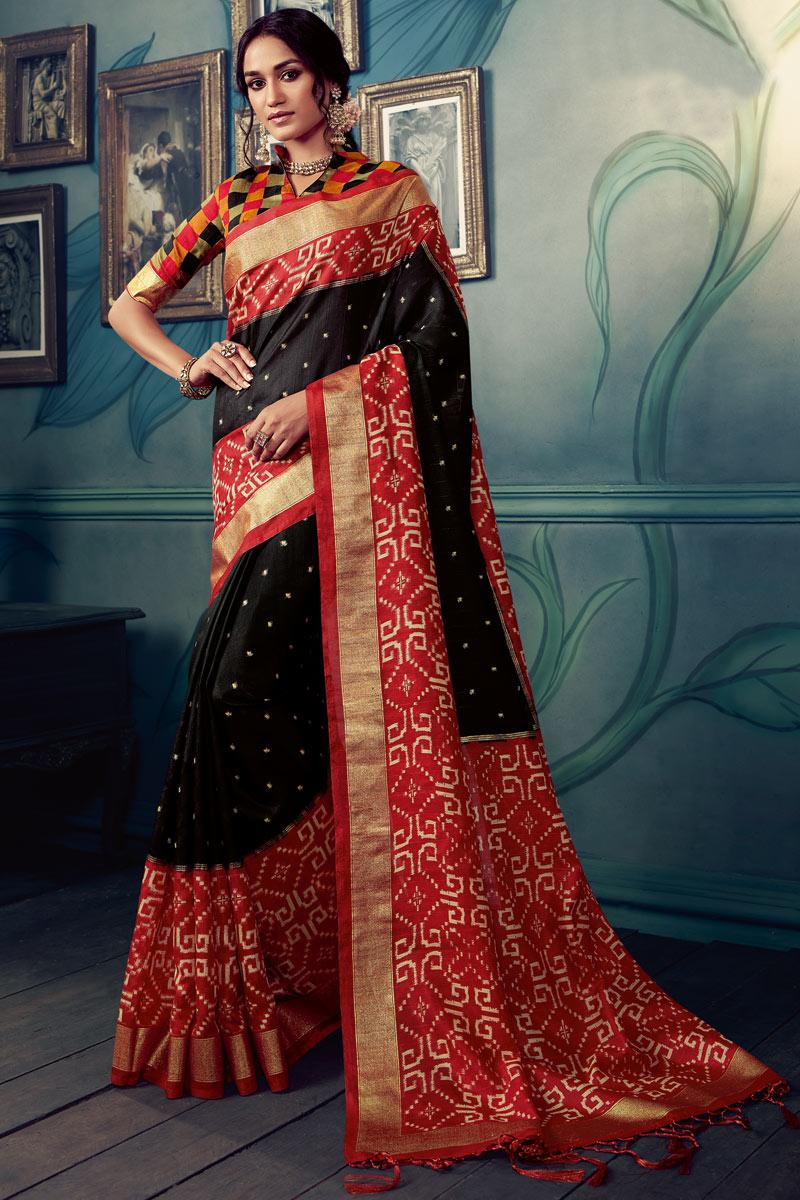 Printed Art Silk Fabric Black Color Function Wear Saree