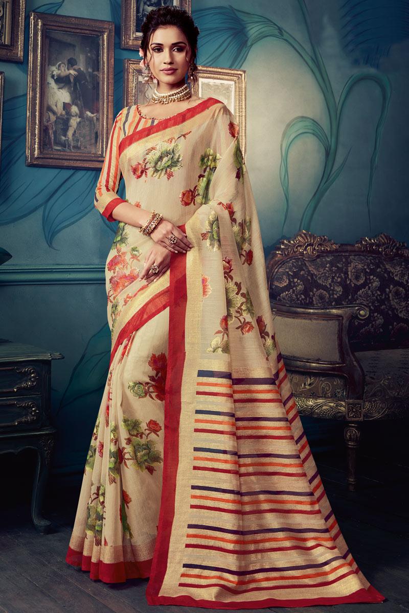 Cream Color Art Silk Fabric Printed Daily Wear Saree