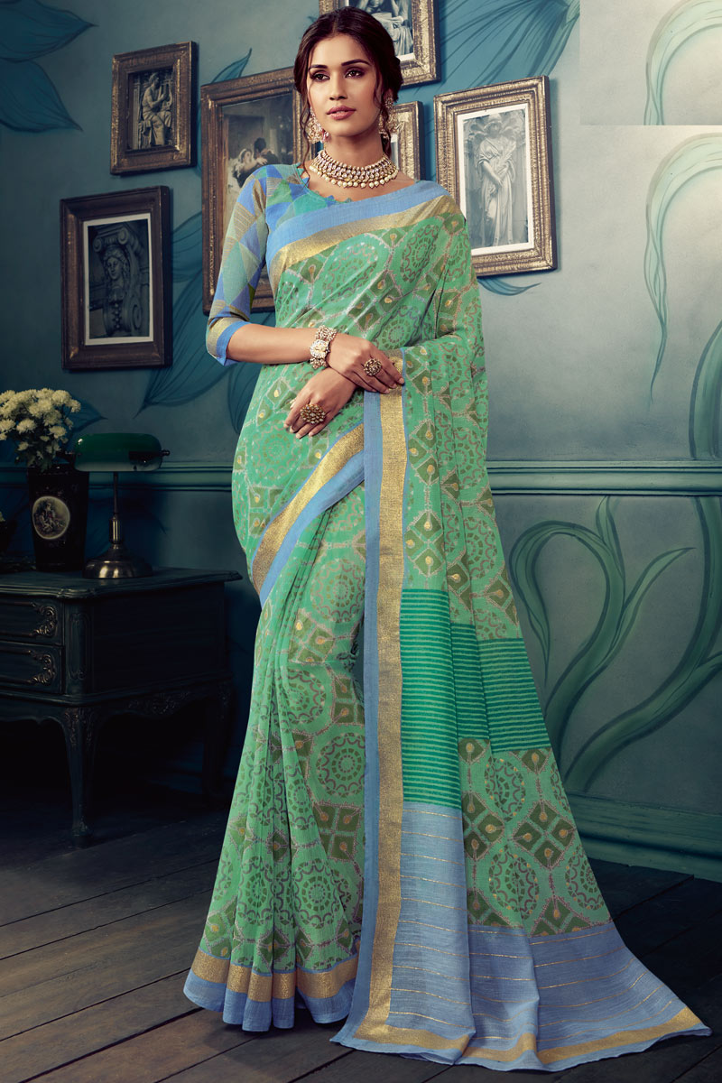 Art Silk Fabric Printed Designs On Light Turquoise Color Office Wear Saree
