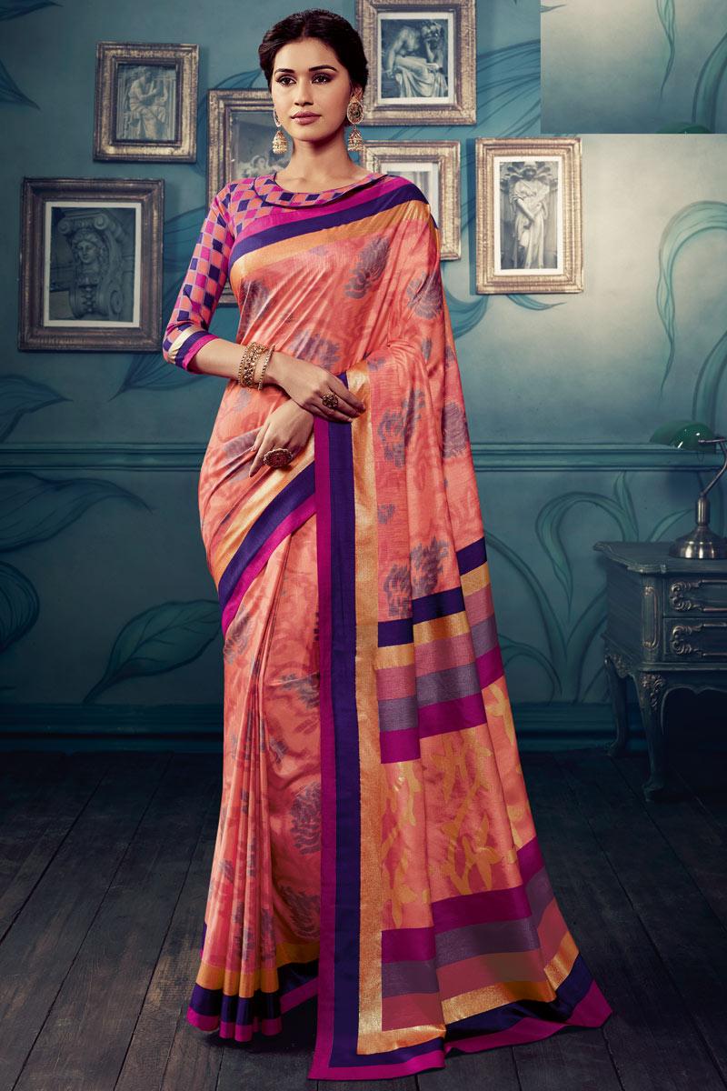Art Silk Fabric Salmon Color Printed Designer Saree
