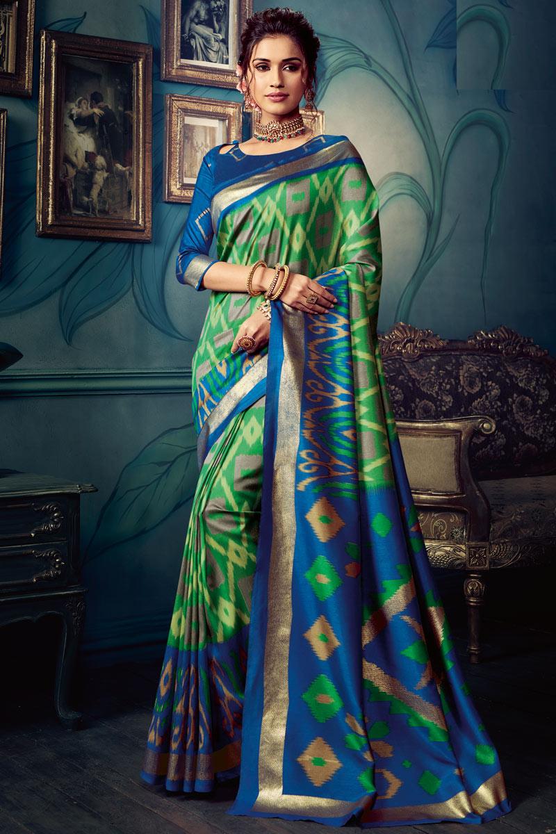 Green Color Art Silk Fabric Function Wear Printed Saree
