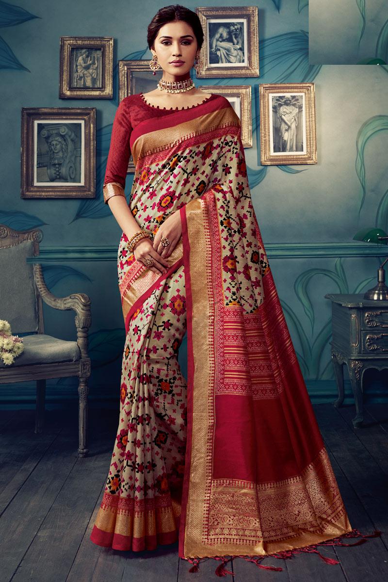 Printed Occasion Wear Saree In Cream Color