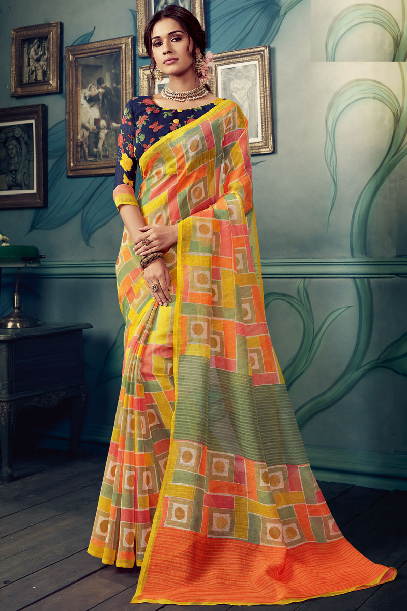 Multi Color Art Silk Fabric Printed Daily Wear Saree