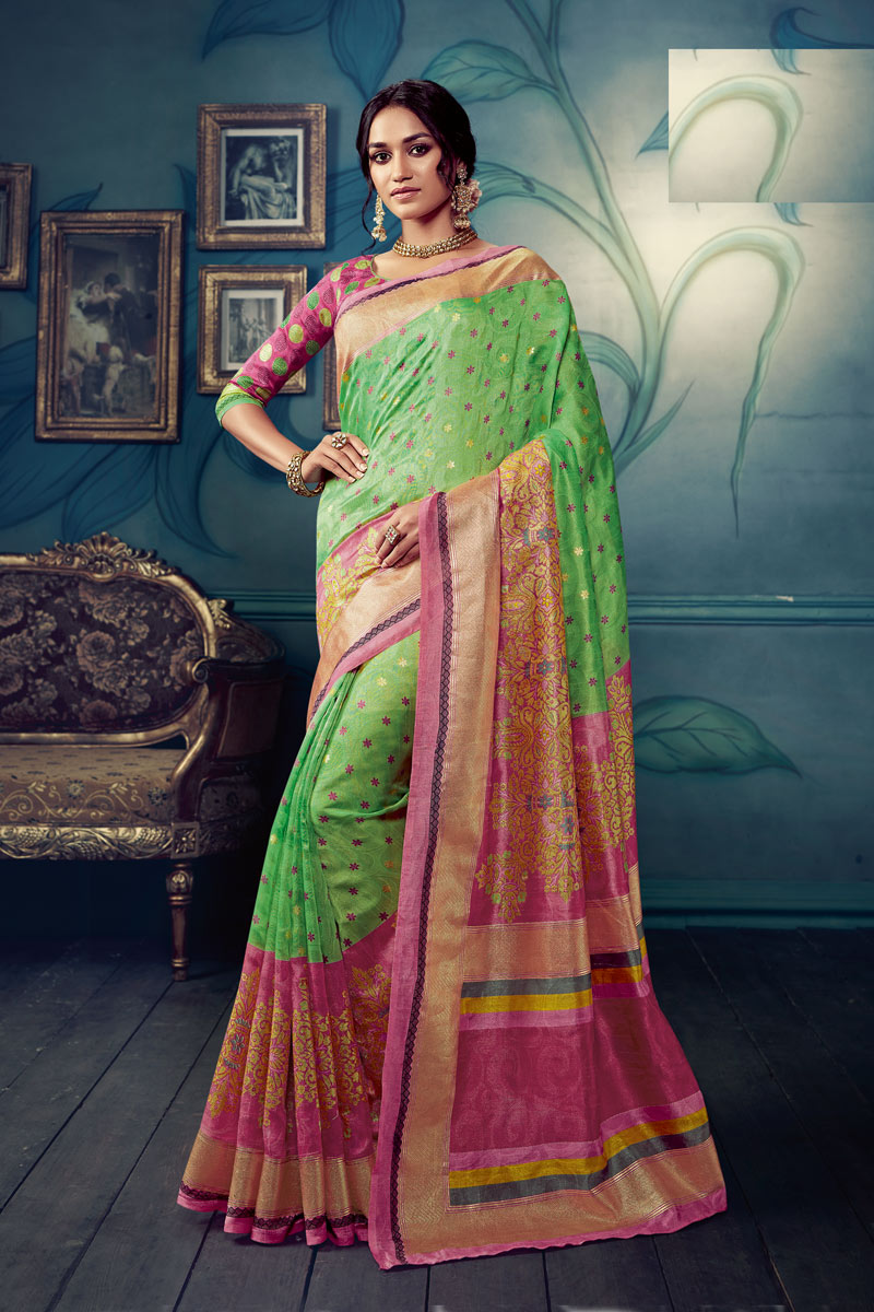 Printed Daily Wear Saree In Art Silk Fabric Sea Green Color