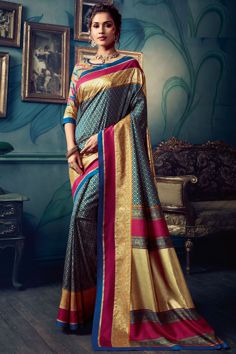 Printed Art Silk Fabric Fancy Saree In Navy Blue Color