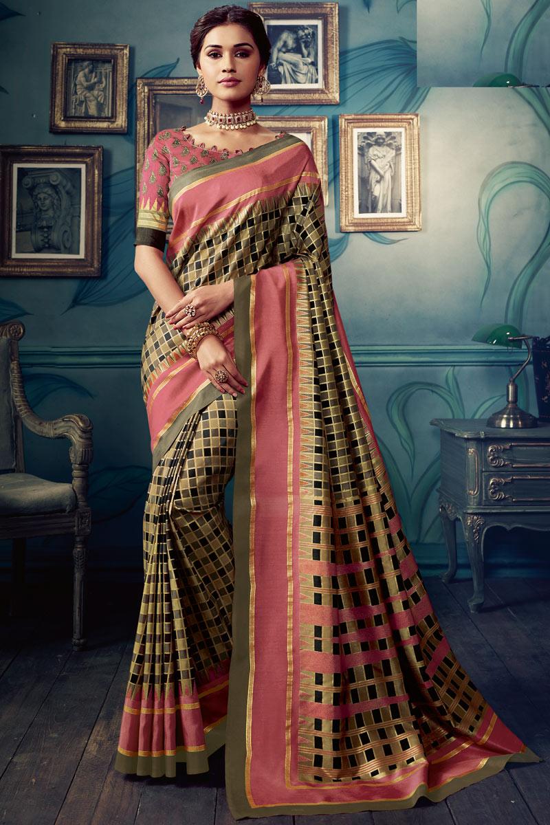 Multi Color Casual Wear Printed Saree In Art Silk Fabric