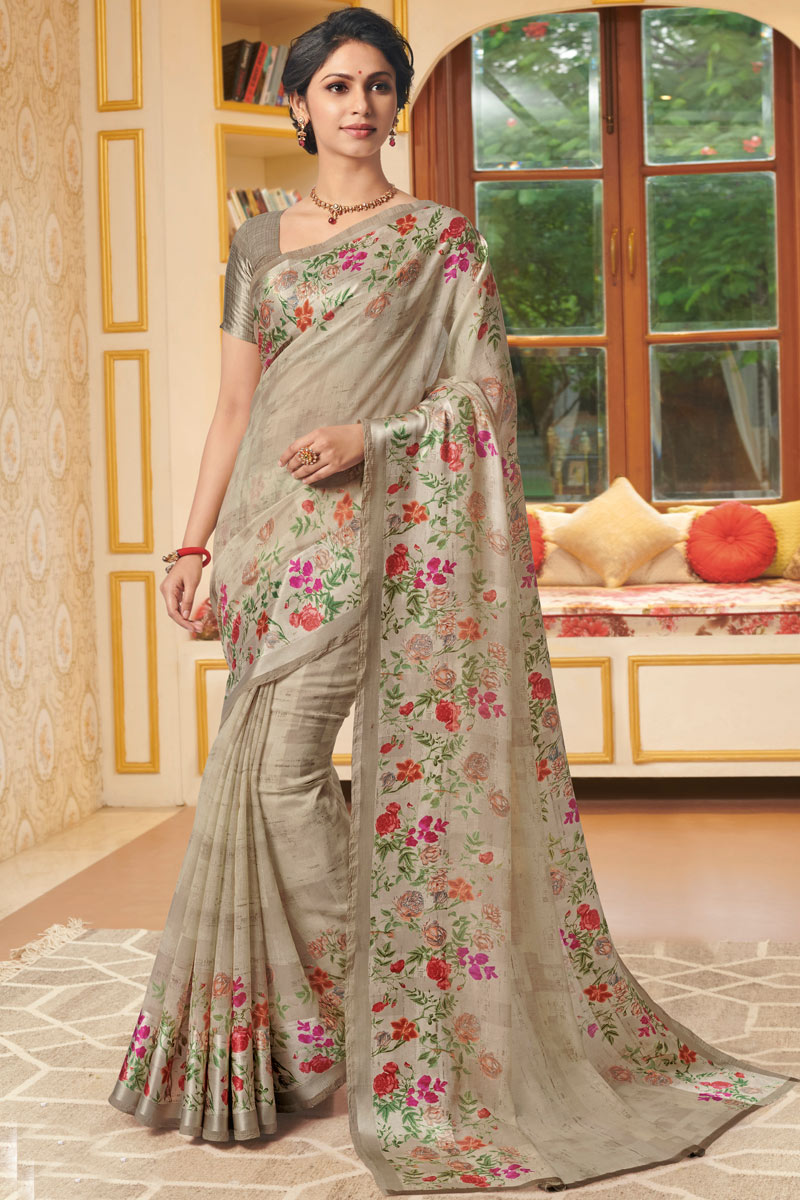 Printed Daily Wear Saree In Linen Fabric Dark Beige Color