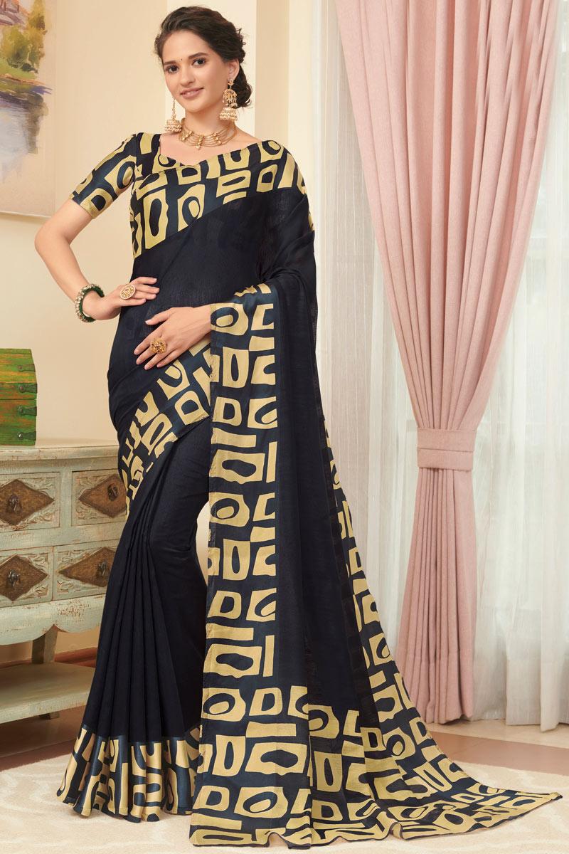 Printed Black Color Designer Saree In Linen Fabric