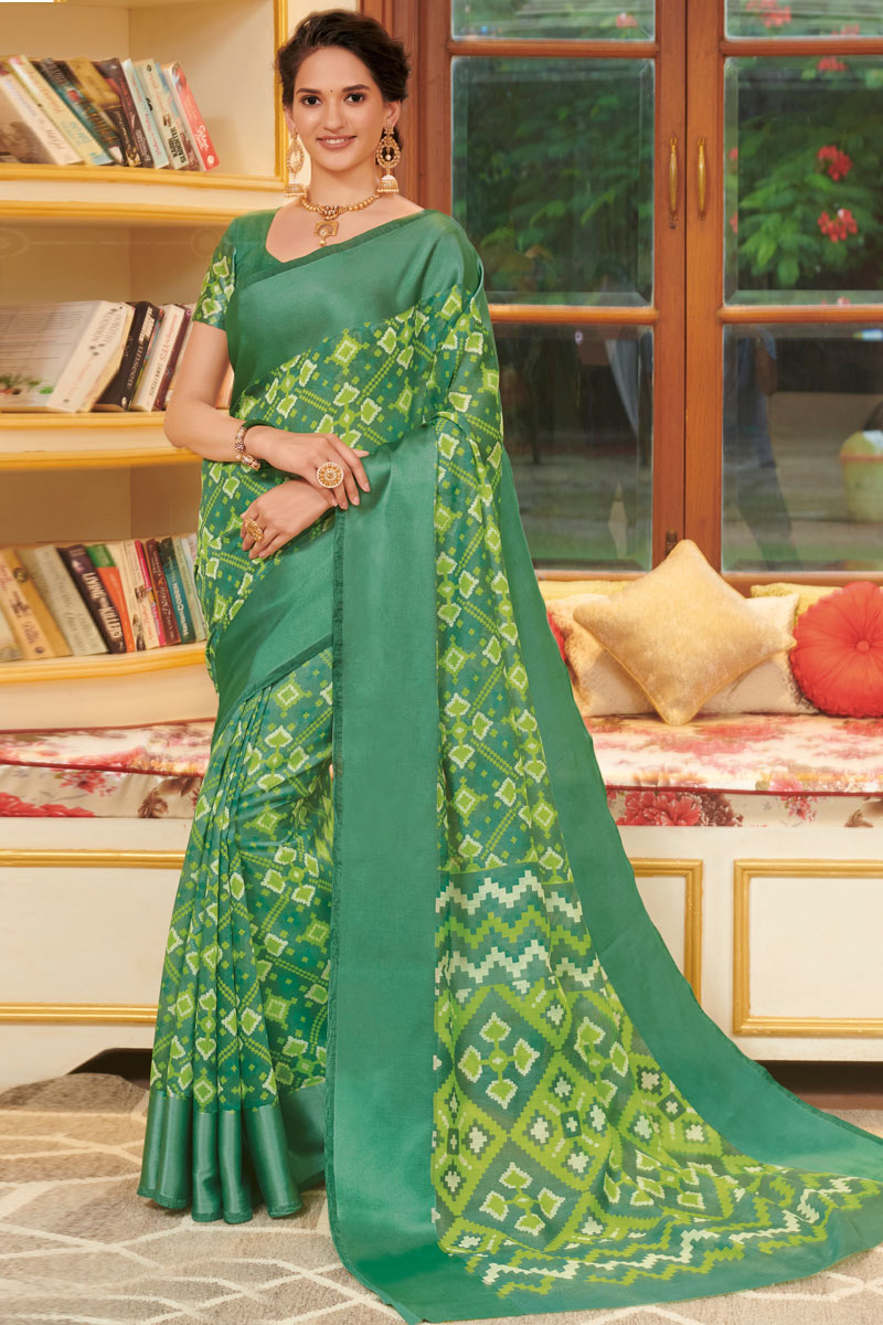 Printed Linen Fabric Fancy Saree In Green Color