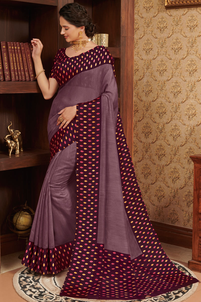 Purple Color Casual Wear Printed Saree In Linen Fabric