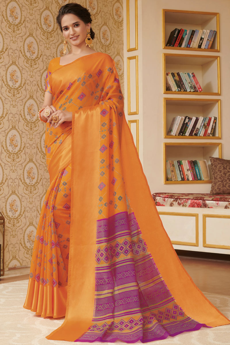 Linen Fabric Orange Color Daily Wear Printed Saree