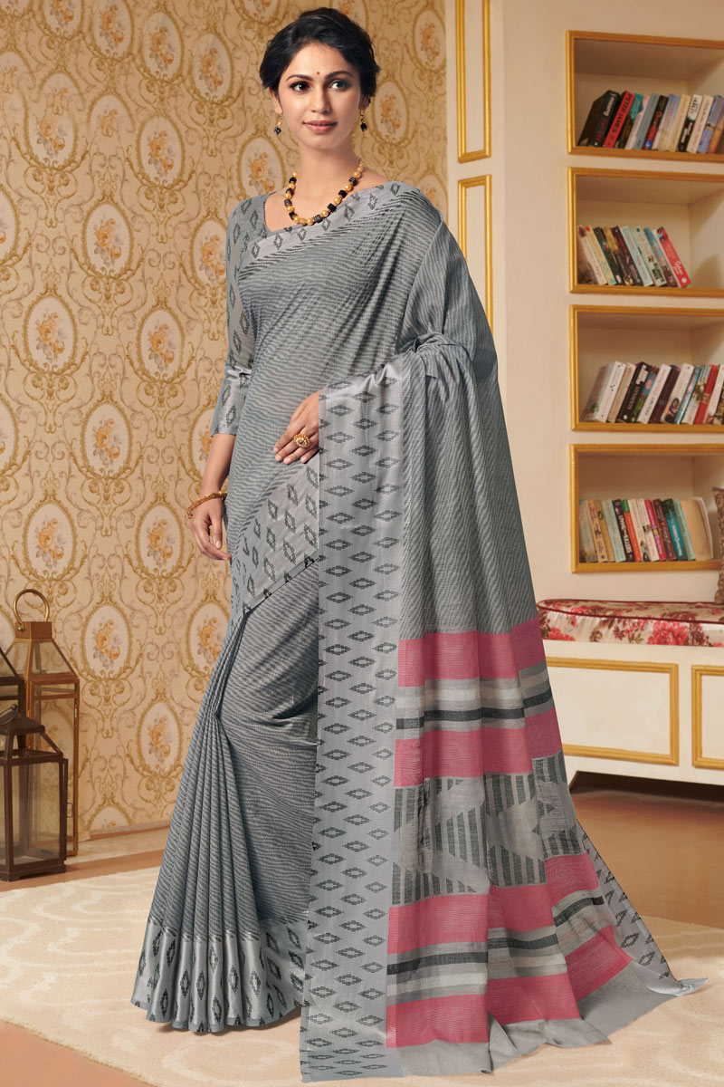 Fancy Linen Fabric Grey Color Daily Wear Printed Saree