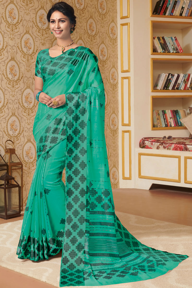 Printed Linen Fabric Office Wear Light Turquoise Color Saree With Blouse