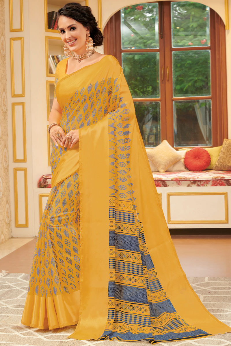 Golden Color Linen Fabric Fancy Printed Saree With Blouse