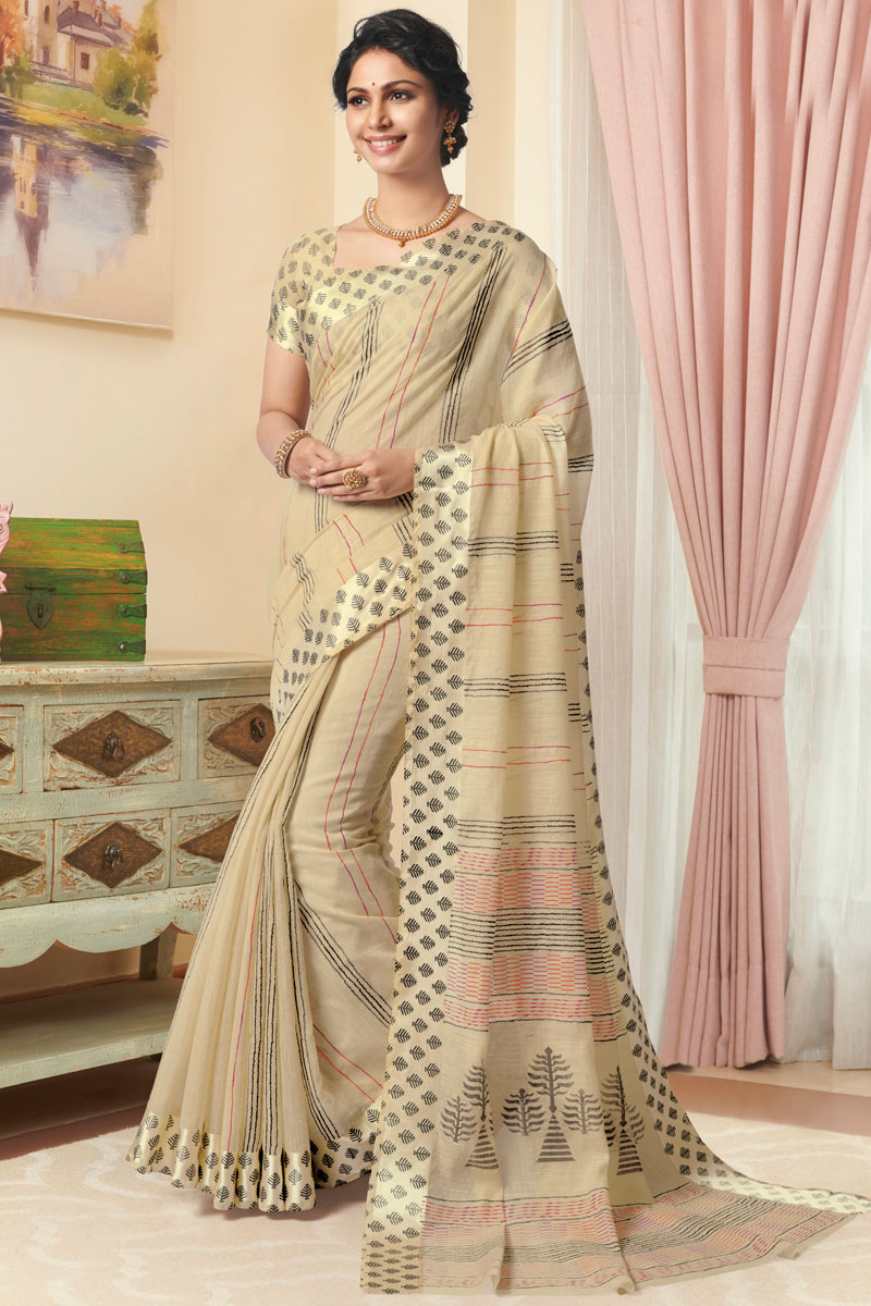 Linen Fabric Printed Daily Wear Beige Color Saree With Blouse