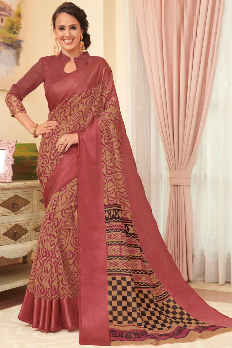 Casual Wear Printed Saree In Linen Fabric Brown Color