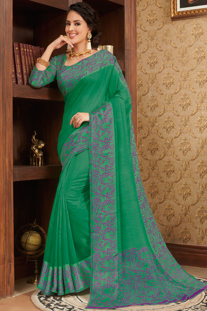 Printed Dark Green Color Linen Fabric Office Wear Saree With Blouse