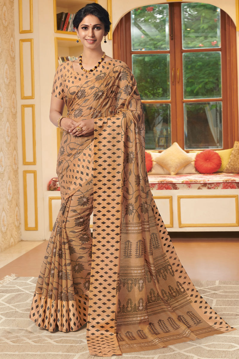 Chikoo Color Linen Fabric Daily Wear Saree With Printed