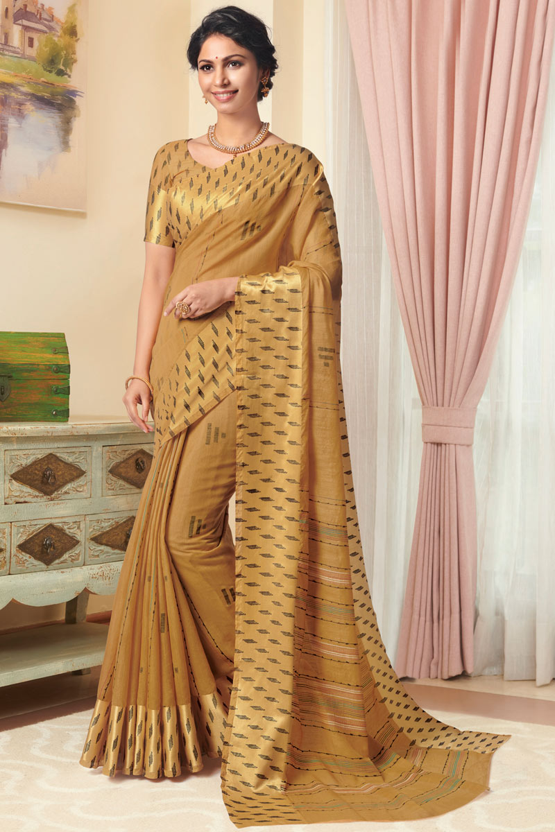 Linen Fabric Fancy Saree With Printed On Coffee Color