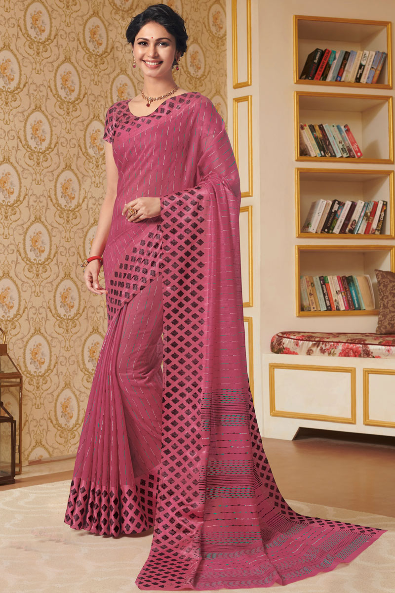 Printed Office Wear Saree In Linen Fabric Pink Color