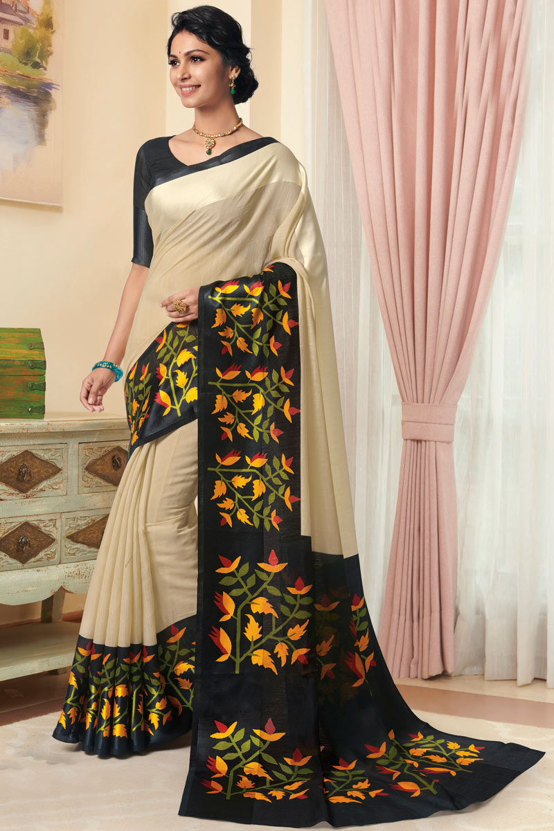 Beige Color Daily Wear Printed Saree In Linen Fabric
