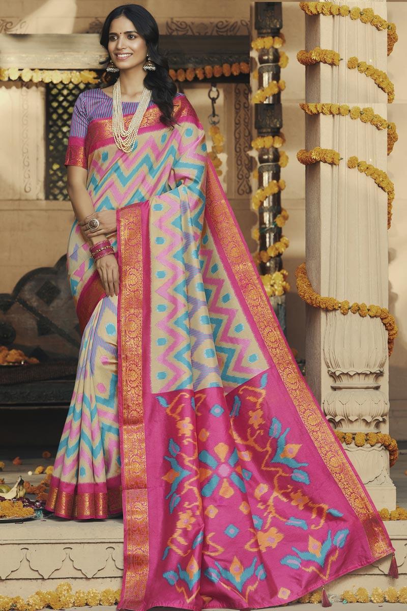 Regular Wear Pink Color Fancy Art Silk Fabric Printed Saree