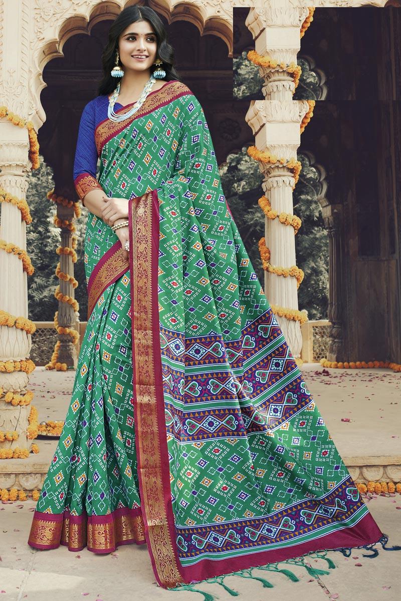 Regular Wear Art Silk Fabric Fancy Cyan Color Printed Saree